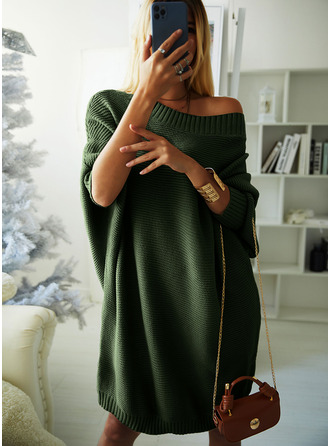 Round Neck Casual Long Solid Ribbed Sweaters