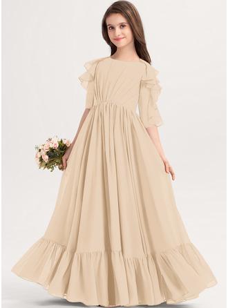 A-linjainen Pyöreä kaula-aukko Lattiaa hipova pituus Sifonki Nuorten morsiusneito mekko jossa Laskeutuva röyhelö