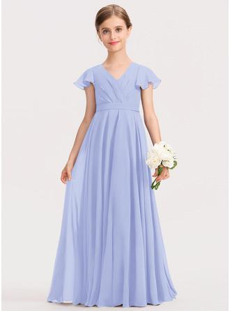 A-linjainen V-kaula-aukko Lattiaa hipova pituus Sifonki Nuorten morsiusneito mekko jossa Rusetti Laskeutuva röyhelö