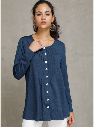 Solid Round Neck Long Sleeves Button Up Blouses