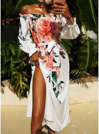 Blommig Print A-linjeklänning 3/4 ärmar Maxi Party skater Modeklänningar