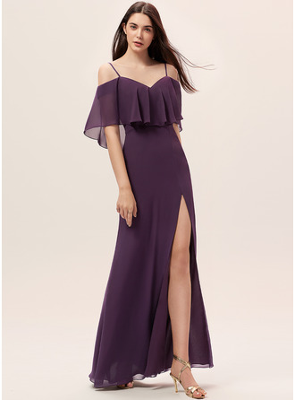 Off the Shoulder Plum Chiffon Dresses