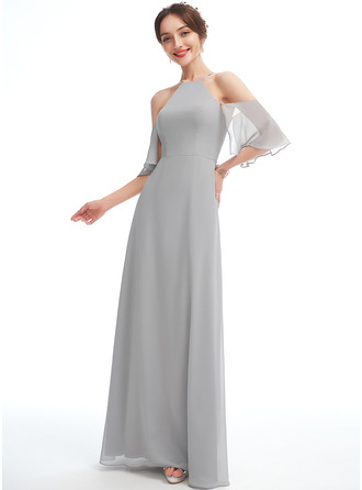 A-Line Halter Floor-Length Bridesmaid Dress With Ruffle