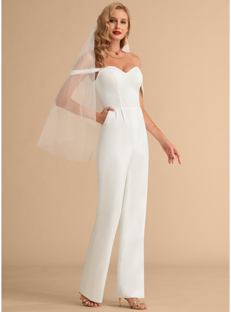 A-Line Off-the-Shoulder Floor-Length Stretch Crepe Wedding Dress With Pockets