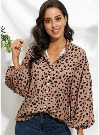 Print 3/4 Sleeves Polyester V Neck Shirt Blouses Blouses
