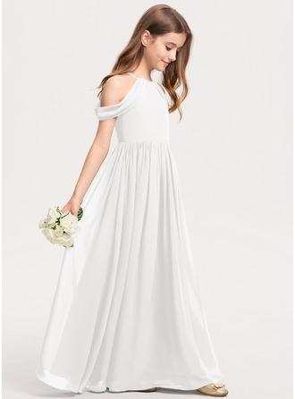 A-Linie U-Ausschnitt Bodenlang Chiffon Kleid für junge Brautjungfern mit Rüschen