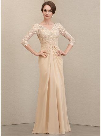 Sheath/Column V-neck Floor-Length Chiffon Lace Evening Dress With Ruffle