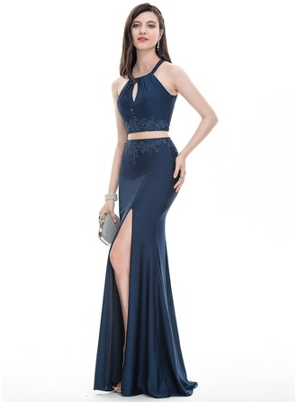 Sheath/Column Scoop Neck Floor-Length Jersey Prom Dress With Lace Beading Sequins Split Front