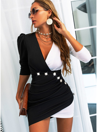 Color Block Bodycon Long Sleeves Puff Sleeves Mini Casual Dresses