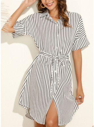 Striped Sheath Short Sleeves Midi Casual Shirt Dresses