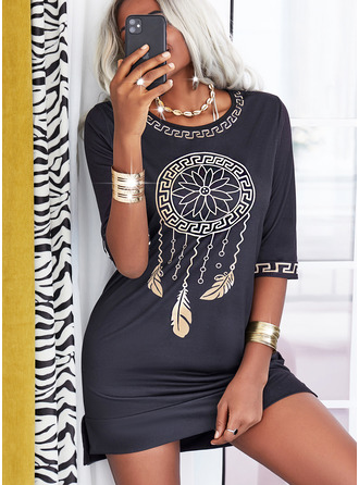 Print Shift 3/4 Sleeves Mini Casual Tunic Dresses
