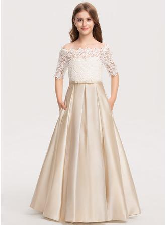 Duchesse-Linie/Princess Off-the-Schulter Bodenlang Satin Spitze Kleid für junge Brautjungfern mit Schleife(n) Taschen