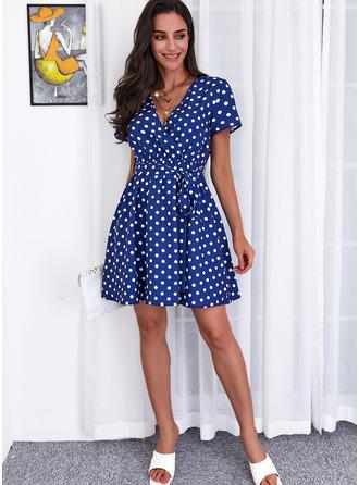 PolkaDot Print A-line Short Sleeves Midi Casual Skater Wrap Dresses