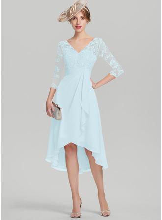 Трапеция V-образный асимметричный шифон Кружева Платье Для Матери Невесты с Ниспадающие оборки