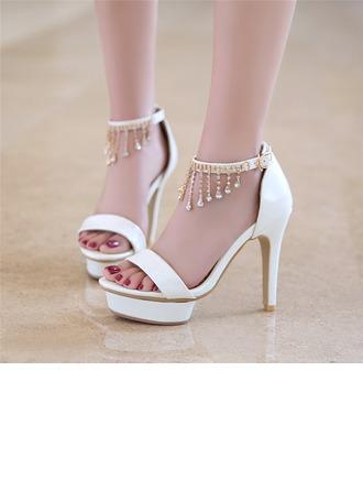 De mujer Cuero Tacón stilettos Sandalias Salón Plataforma Encaje con Rhinestone zapatos