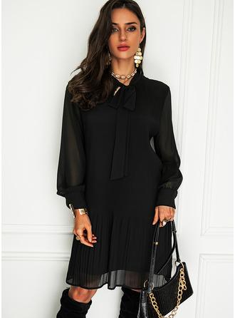 Solid Shift Long Sleeves Mini Little Black Elegant Tunic Dresses