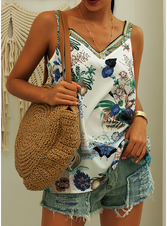 Print Floral Sleeveless Polyester Strap Tank Tops Blouses