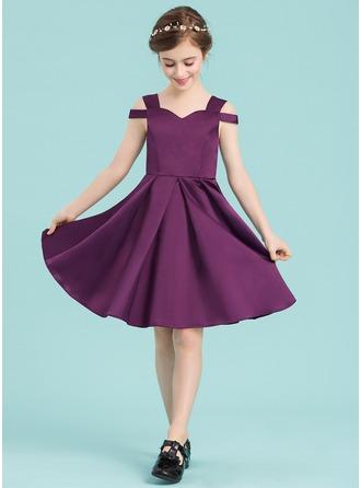 A-Line/Princess Sweetheart Knee-Length Satin Junior Bridesmaid Dress