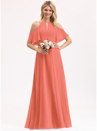 A-Line Scoop Neck Floor-Length Chiffon Bridesmaid Dress