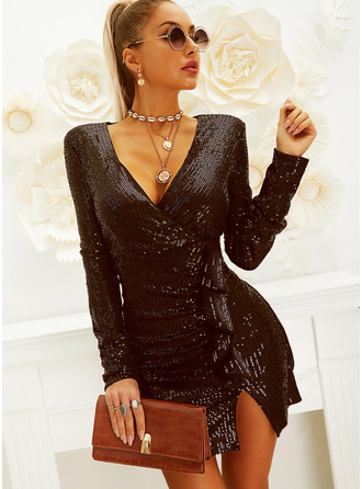 Sequins Solid Sheath Long Sleeves Mini Little Black Party Elegant Wrap Dresses