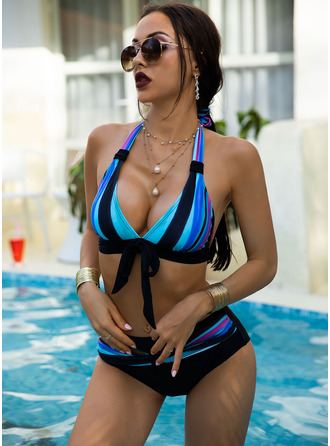 Bikinis Polyester Splice color Women's Yes Swimwear