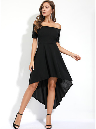 Solid A-line Short Sleeves Asymmetrical Little Black Party Elegant Skater Dresses