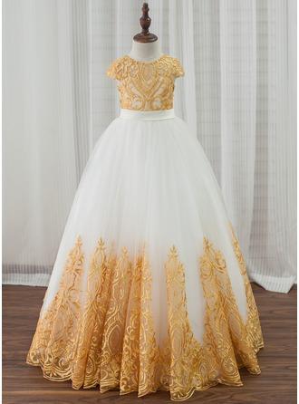 Corte de baile Hasta el suelo Vestidos de Niña Florista - Satén/Tul/Encaje Sin mangas Escote redondo con Lazo(s) (Faja desmontable)