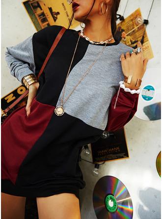 Colorido Vestidos soltos Manga Comprida Mini Casual Moletons Vestidos na Moda