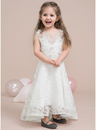 A-Line/Princess Scoop Neck Asymmetrical Lace Junior Bridesmaid Dress With Beading Flower(s) Sequins