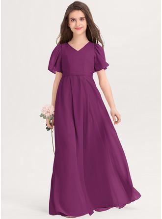 A-linjainen V-kaula-aukko Lattiaa hipova pituus Sifonki Nuorten morsiusneito mekko jossa Rusetti