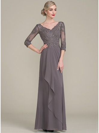 A-Line/Princess V-neck Floor-Length Chiffon Lace Mother of the Bride Dress With Beading Sequins Cascading Ruffles