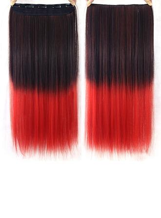 Tout droit cheveux synthétiques Pince pour extensions capillaires (Vendu en une seule pièce)