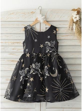 A-Linie Knielang Blumenmädchenkleid - Tüll Ärmellos U-Ausschnitt
