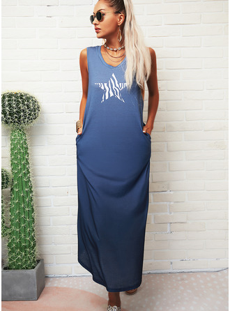 Print Shift Sleeveless Maxi Casual Tank Dresses
