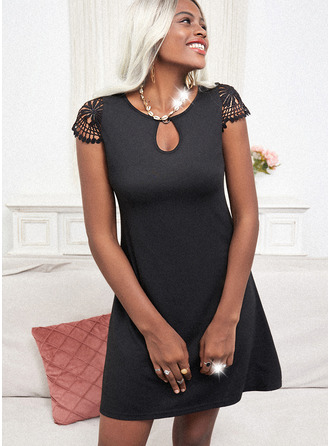 Lace Solid Sheath Cap Sleeve Mini Little Black Casual Vacation Dresses