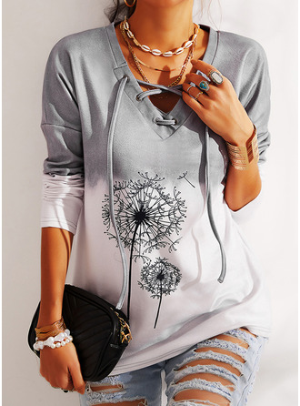 Dandelion Print V-Neck Long Sleeves Casual Blouses