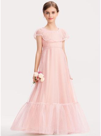 A-Linie U-Ausschnitt Bodenlang Spitze Kleid für junge Brautjungfern