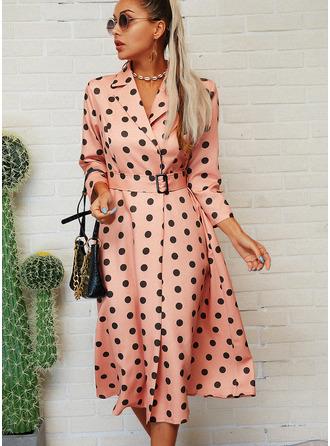 PolkaDot A-linjeklänning 3/4 ärmar Midi Elegant skater Modeklänningar