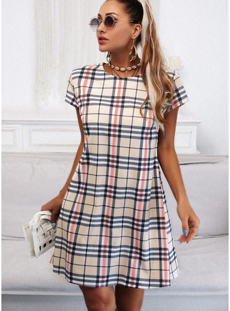 Plaid Sheath Short Sleeves Midi Casual Dresses