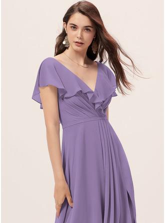 A-Line V-neck Floor-Length Bridesmaid Dress With Split Front
