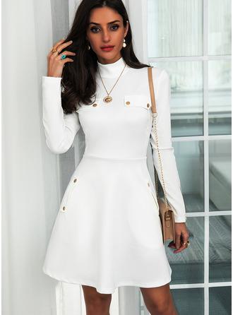Solid A-line Long Sleeves Mini Elegant Skater Dresses