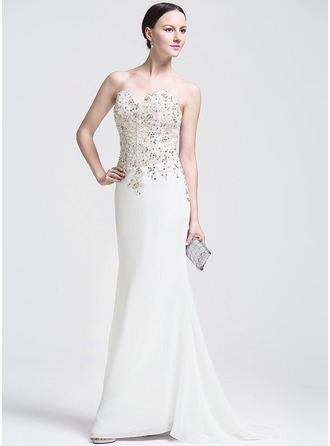 Trumpet/Mermaid Sweetheart Sweep Train Chiffon Lace Evening Dress With Beading Sequins