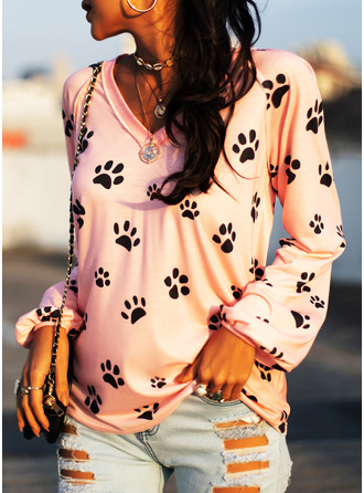 Animal Print V-Neck Long Sleeves Casual T-shirt