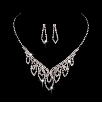 Zarif Bakır/Gümüş Kaplama Ile Yapay elmas Bayanlar Takı Setleri