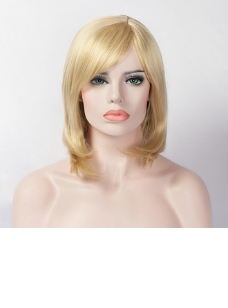 Straight Mid-Length Capless Synthetic Wigs