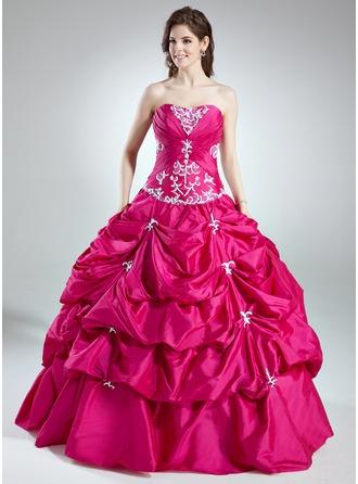 Duchesse-Linie Schatz Bodenlang Taft Quinceañera Kleid (Kleid für die Geburtstagsfeier) mit Rüschen Perlstickerei Applikationen Spitze Pailletten