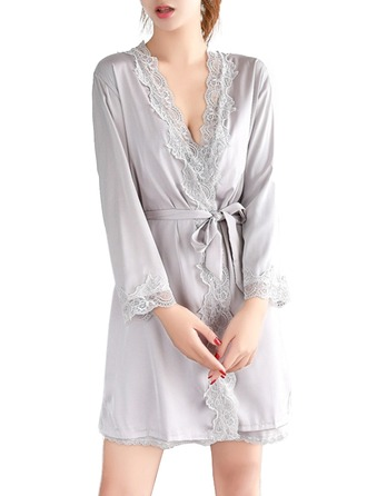 Bride Bridesmaid Silk With Tea-Length Girl Robes