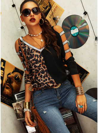 Leopard Sequins Cold Shoulder Long Sleeves Casual Sexy Blouses