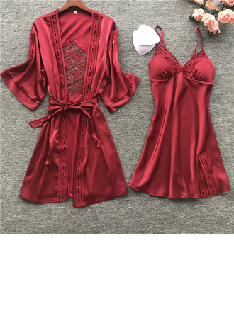 Bridal/Feminine Classic Imitated Silk Pajamas Sets