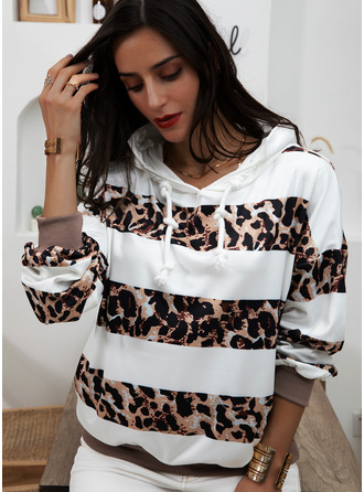 Striped Leopard Long Sleeves Hoodie